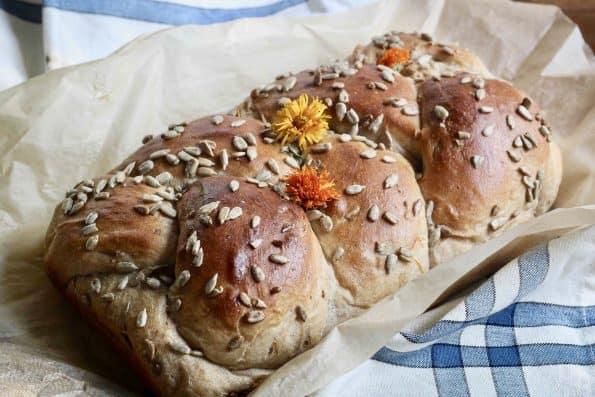 Sourdough bread with calendula.