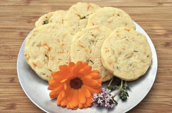 A plate of calendula shortbread cookies.