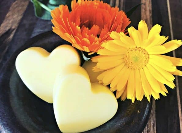 Heart-shaped calendula lotion bars.