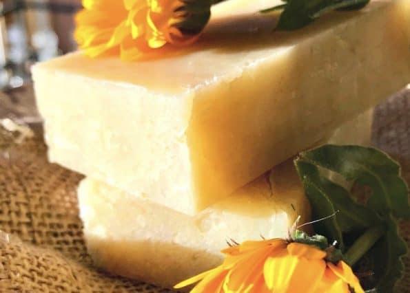 Blocks of calendula soap.