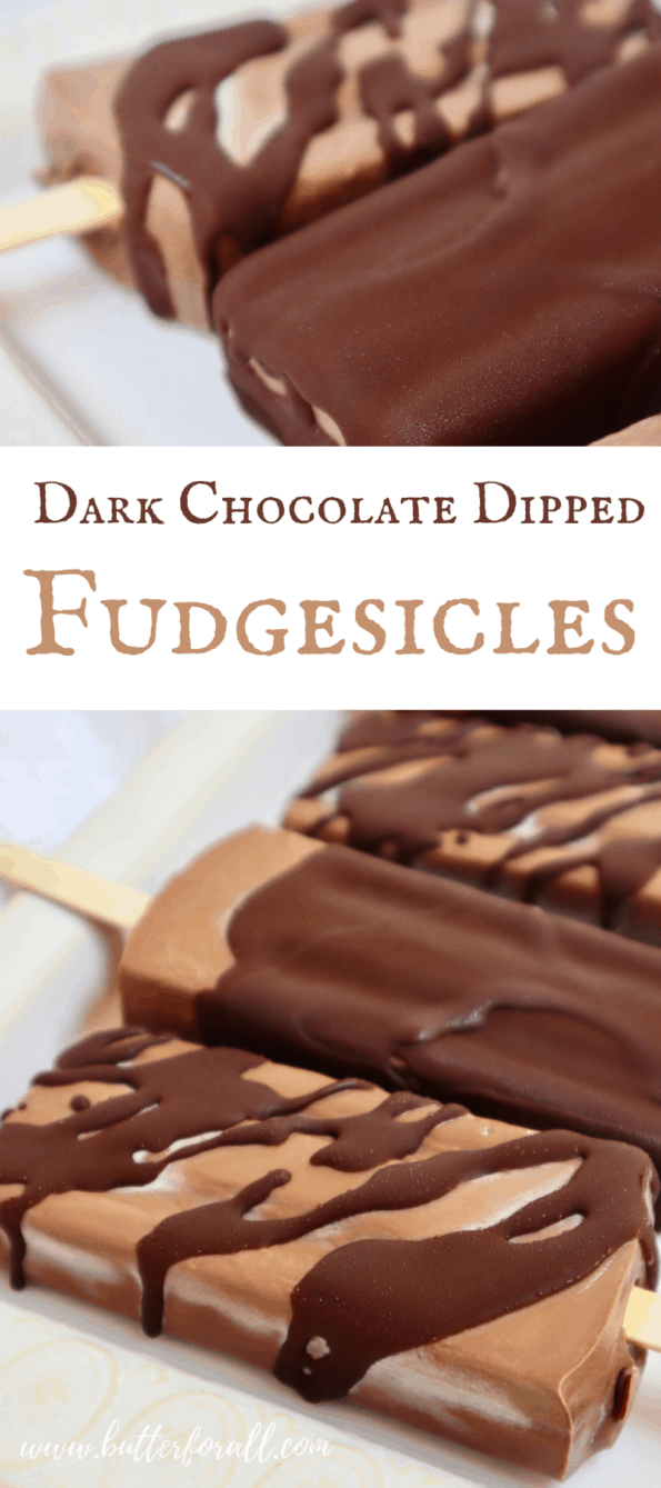 Dark chocolate dipped fudgesicles collage for Pinterest.
