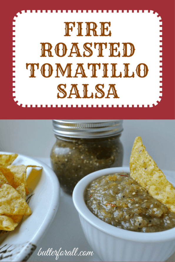 Fresh fire-roasted tomatillo salsa and tortilla chips with text.