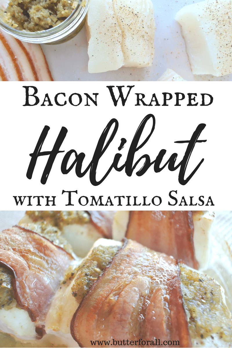 The perfect combination of moist flakey halibut, crispy bacon and tart and smokey tomatillo salsa.