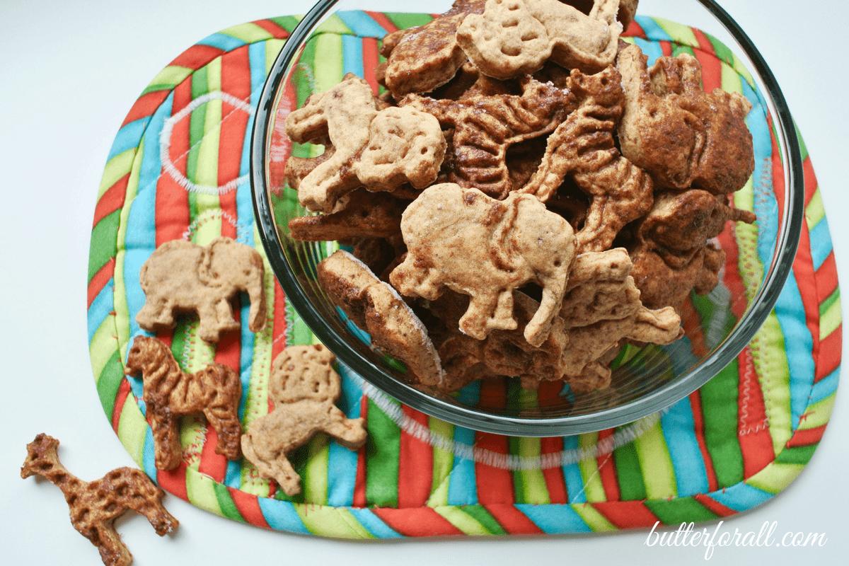 Bowl of homemade, cinnamon topped animal cookies.