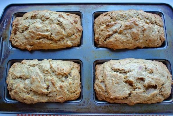 Fresh baked banana date bread.