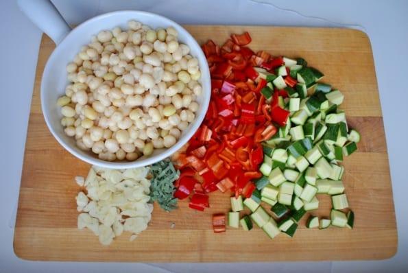 Fresh ingredients on a cutting board.