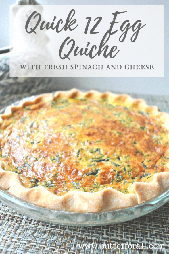 A traditional, flaky lard pie crust quiche.