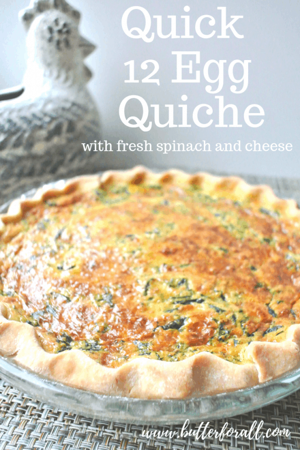 This quiche is the perfect way to use a dozen farm fresh eggs and some healthy pastured lard! The crust is made with real lard for the most flaky and delicious crust ever. The filling is loaded with fresh spinach and cheese and cooked to tender perfection. #realfood #farmtotable #lard #healthyfats #eggs #nourishing #Easter #brunch