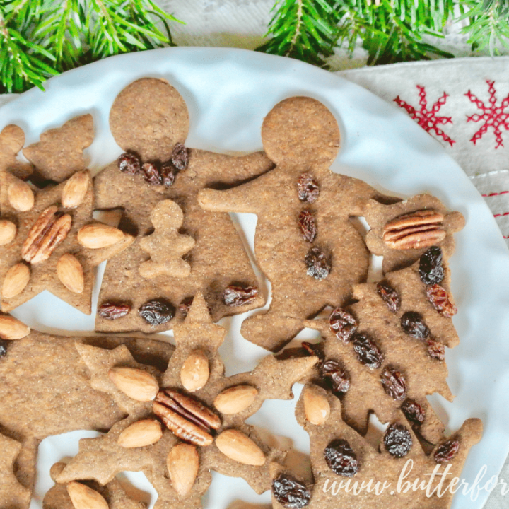The perfect gingerbread cut-out cookie that is refined sugar free and made with sprouted whole wheat in your food processor!