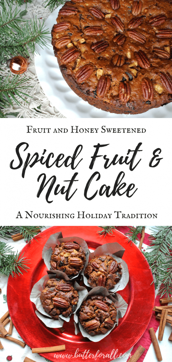 This will become your favorite Fruit Cake of the season. Sweetened with real honey and loaded with dried fruit and healthy nuts this cake will nourish your whole family!