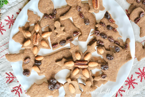 A big platter of festive decorated gingerbread cut-out cookies!
