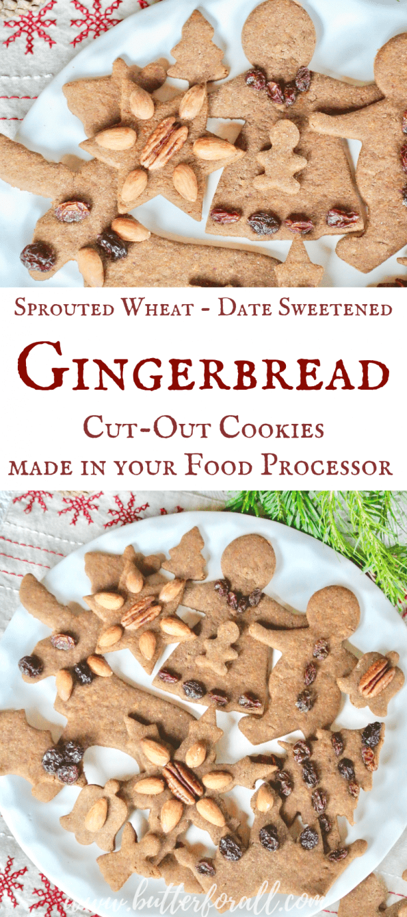 These nourishing Gingerbread Cut-Out Cookies are made with sprouted whole wheat and are refined sugar free! They are the perfect healthy cookie for all the holiday celebrations! #realfood #Christmas #holidays #decorations #kids #nourishingtraditions #wisetraditions