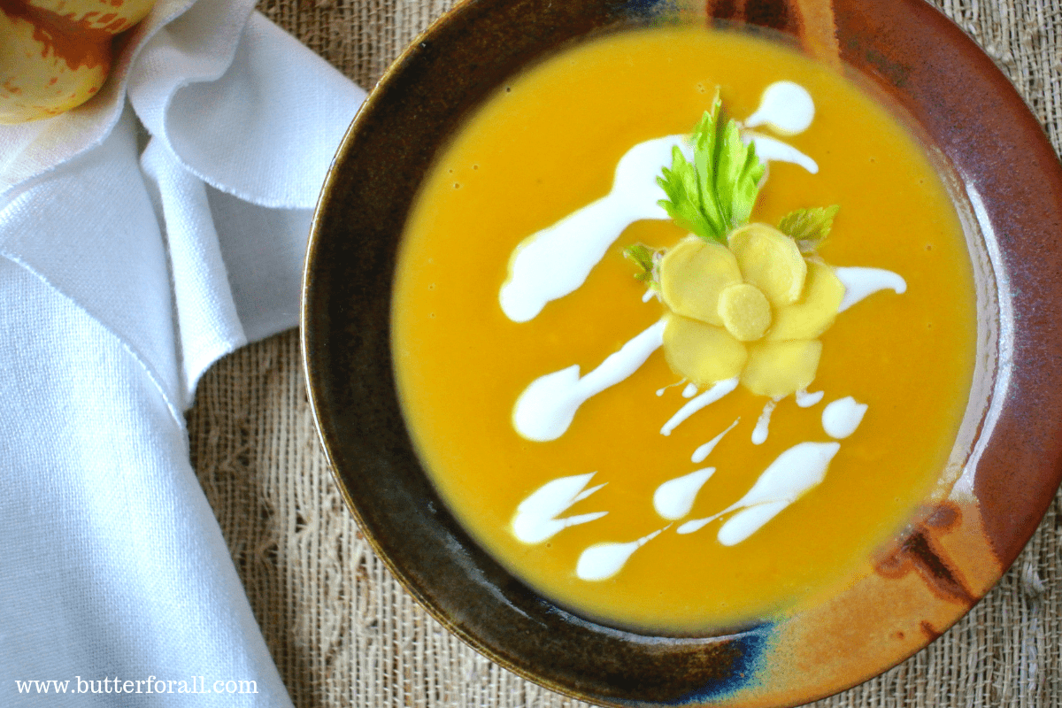 A warm and spicy bowl of Winter Squash And Ginger soup.