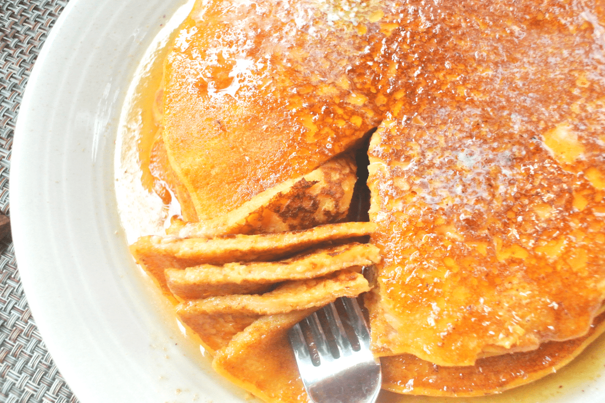 A beautiful stack of Sweet Potato Sourdough Pancakes