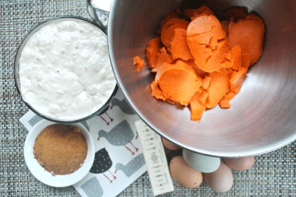 Sourdough Starter, cooked sweet potato, eggs. butter and sugar.