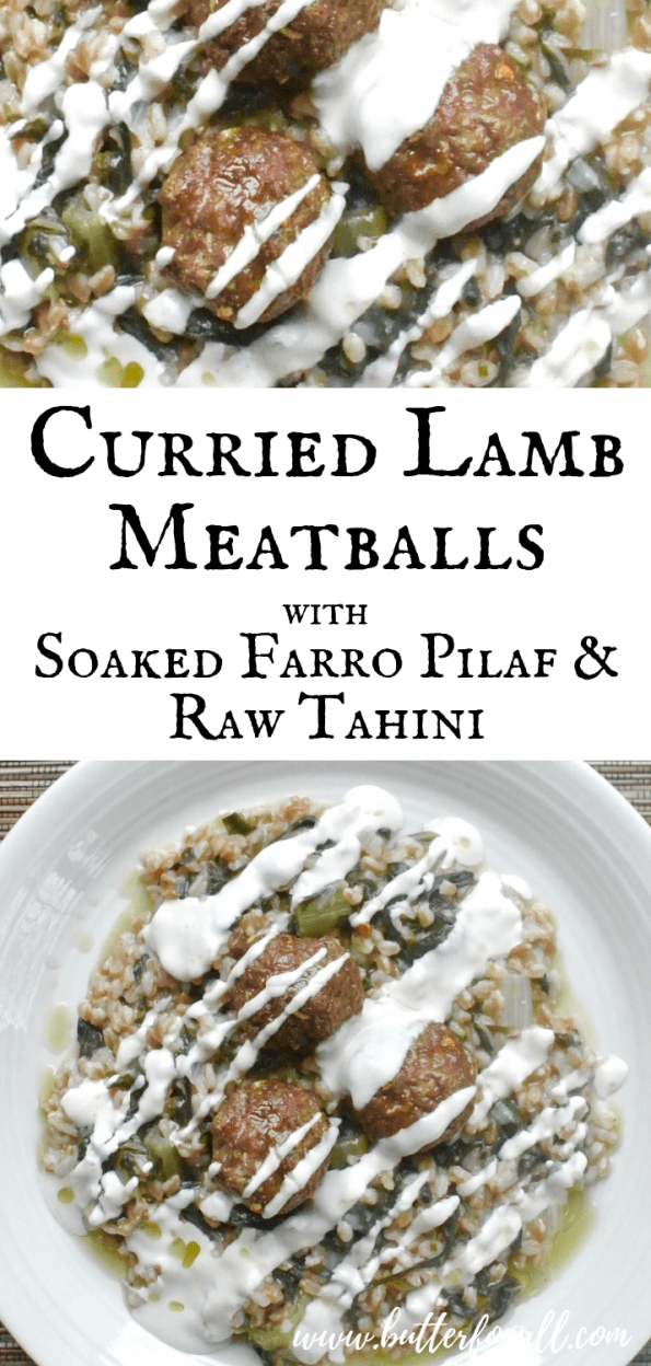 These curried lamb meatballs are the most flavorful and easy meatball you can make! Serve them with a delicious and nutrient dense soaked Farro Pilaf for a really interesting and complex meal. #realfood #nourishingtraditions #wisetraditions #soakedgrains #properlyprepared #grassfed