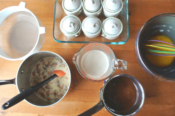 Ingredients for petit chocolate rose pots de crème on the counter.