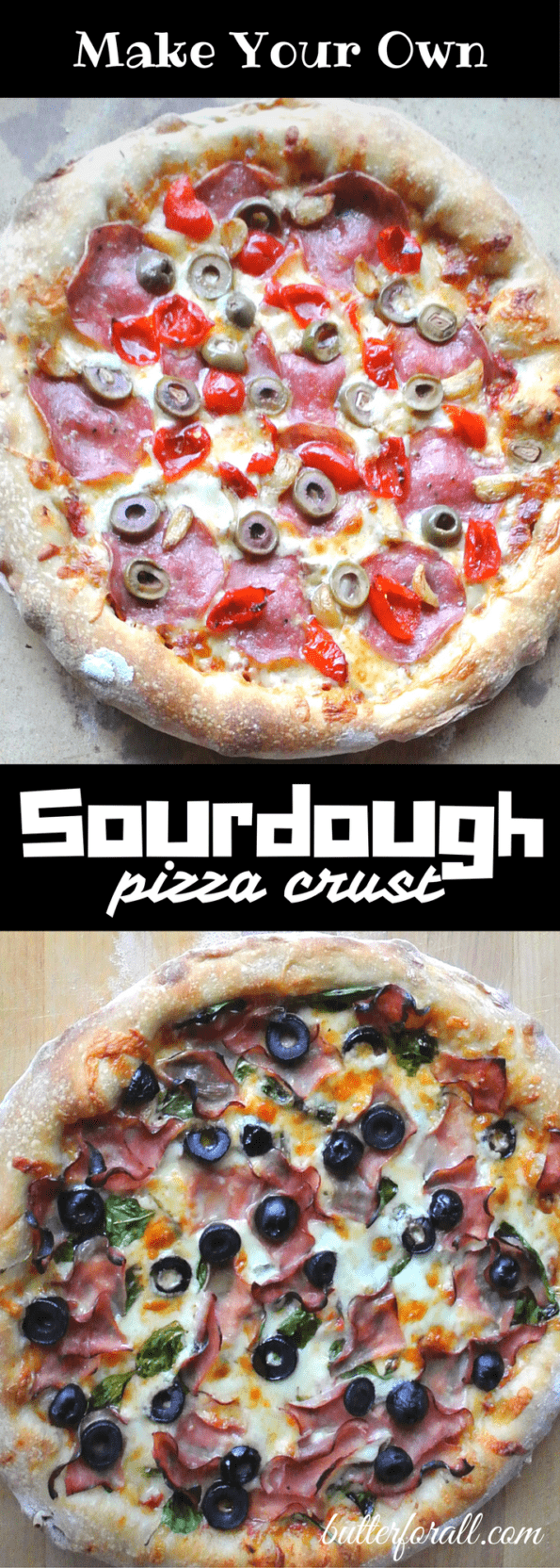 Sourdough pizza collage with text overlay.