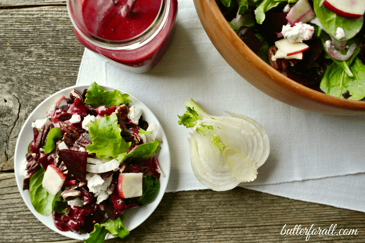 Fennel Salad With Cranberry Ginger Beet Dressing