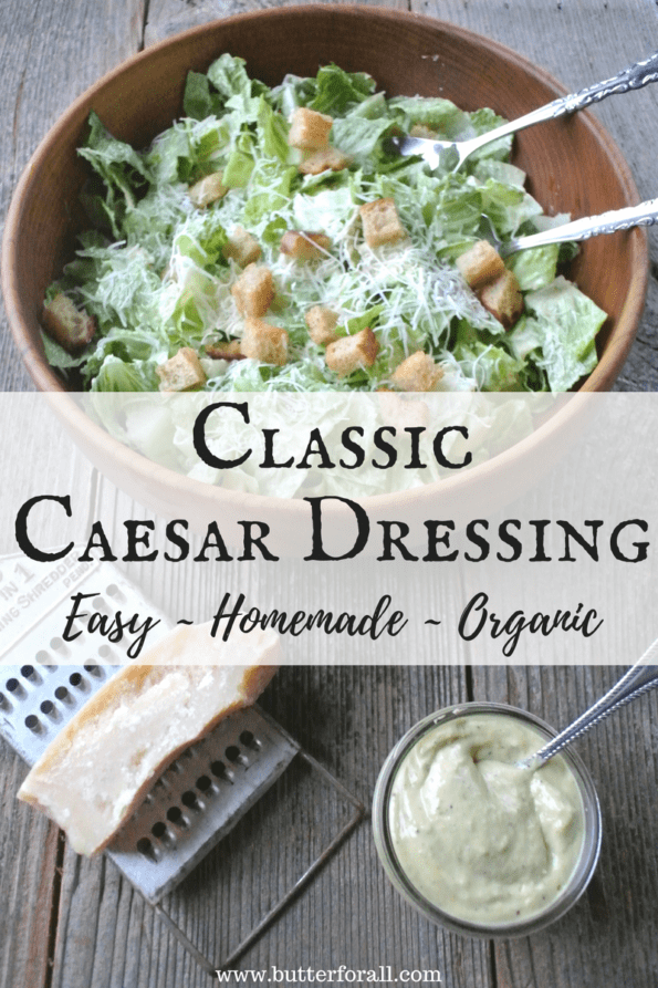 A big bowl of Ceasar salad with text overlay.