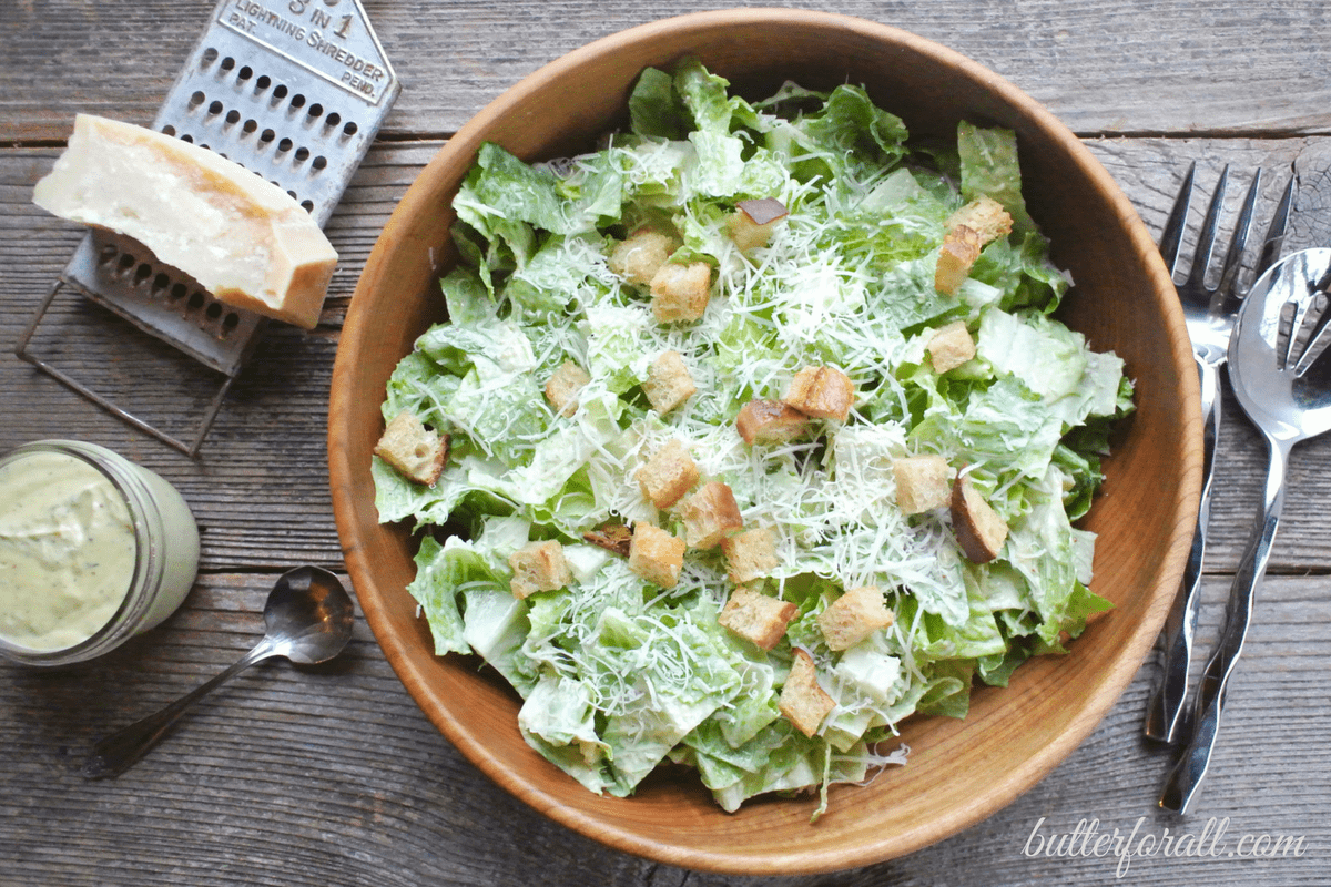 Easy Classic Caesar Dressing-With Simple Salad Instructions