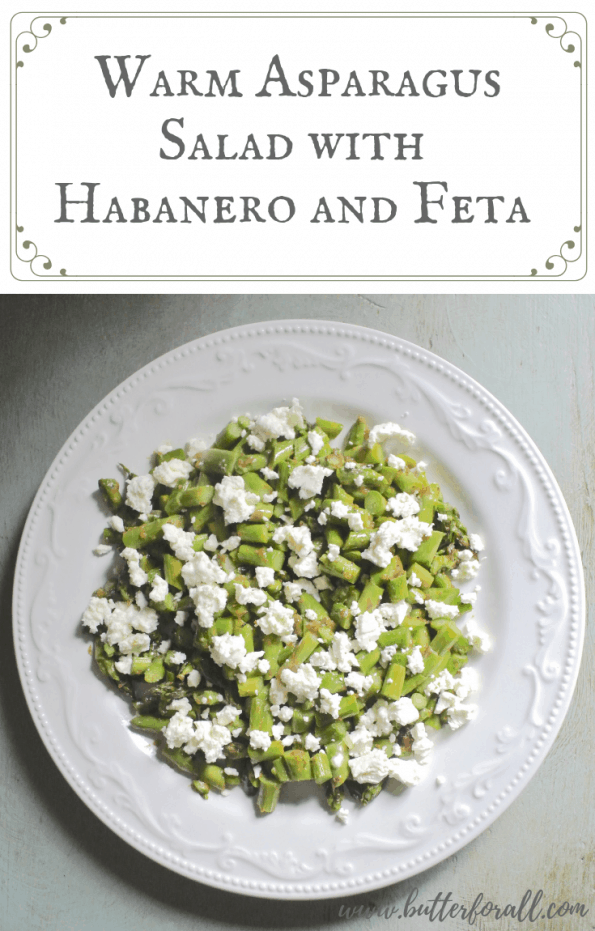 This warm asparagus salad is spicy and fresh with a creamy tang from sheep milk feta! #spring #salad #sidedish #realfood #easy #nourishing #wisetraditions