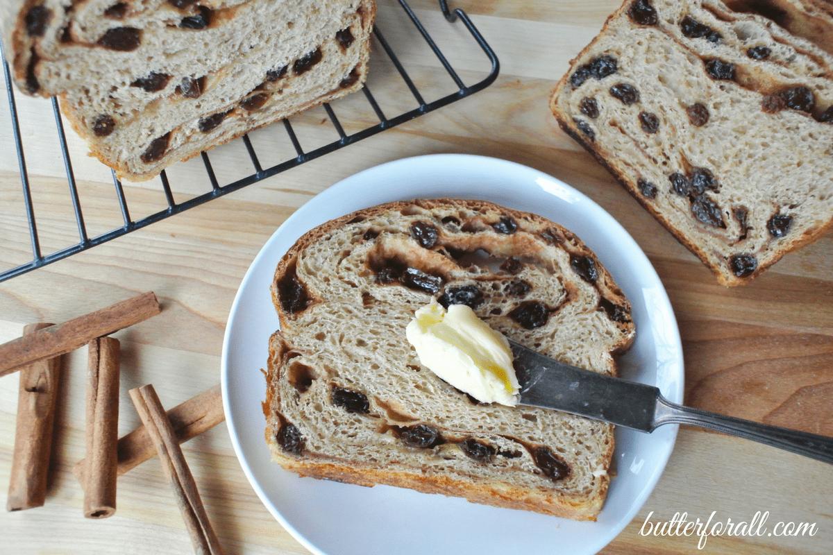 Cinnamon Raisin Sourdough Bread -Sweetened With A Maple Syrup Swirl