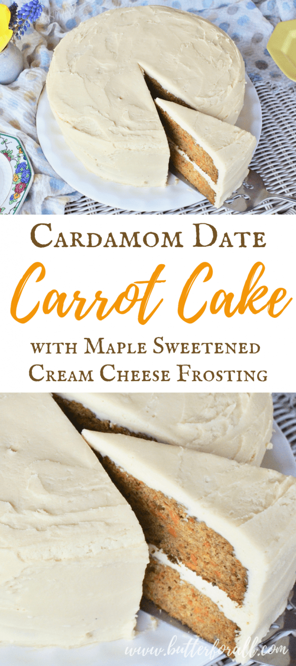 This Cardamom scented carrot cake is sweetened with earthy dates and frosted with a maple sweetened cream cheese frosting. This is a healthy cake that tastes absolutely sinful! #realfood #easter #spring #dates #refinedsugarfree #birthday #wedding #spiced #cake