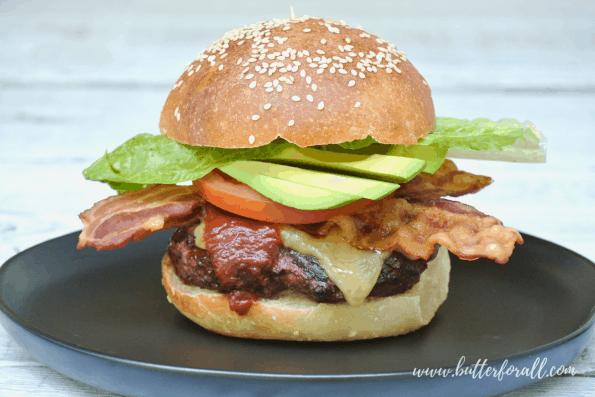 A burger made with sourdough buns.