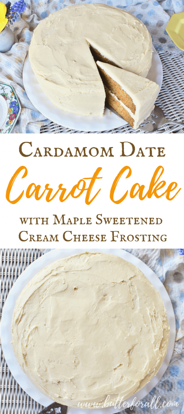 A whole cream-cheese-frosted carrot cake and a close up of a two-layer slice.