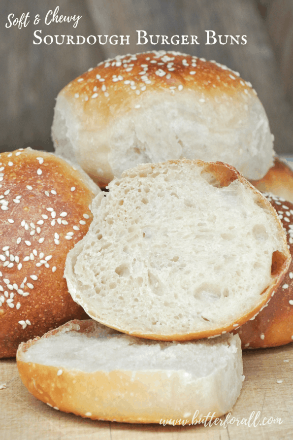 A stack of sliced buns with text overlay.