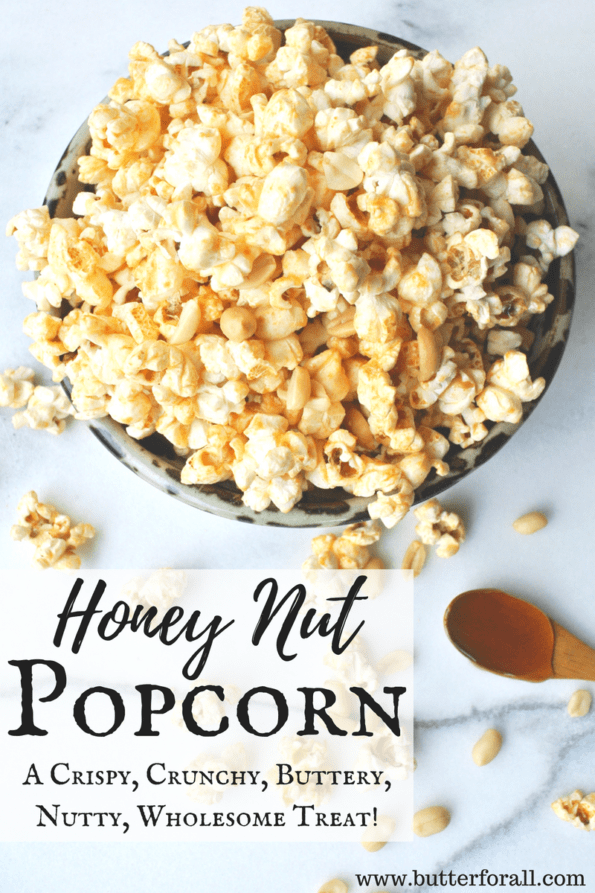 A bowl of honey nut popcorn with text overlay.