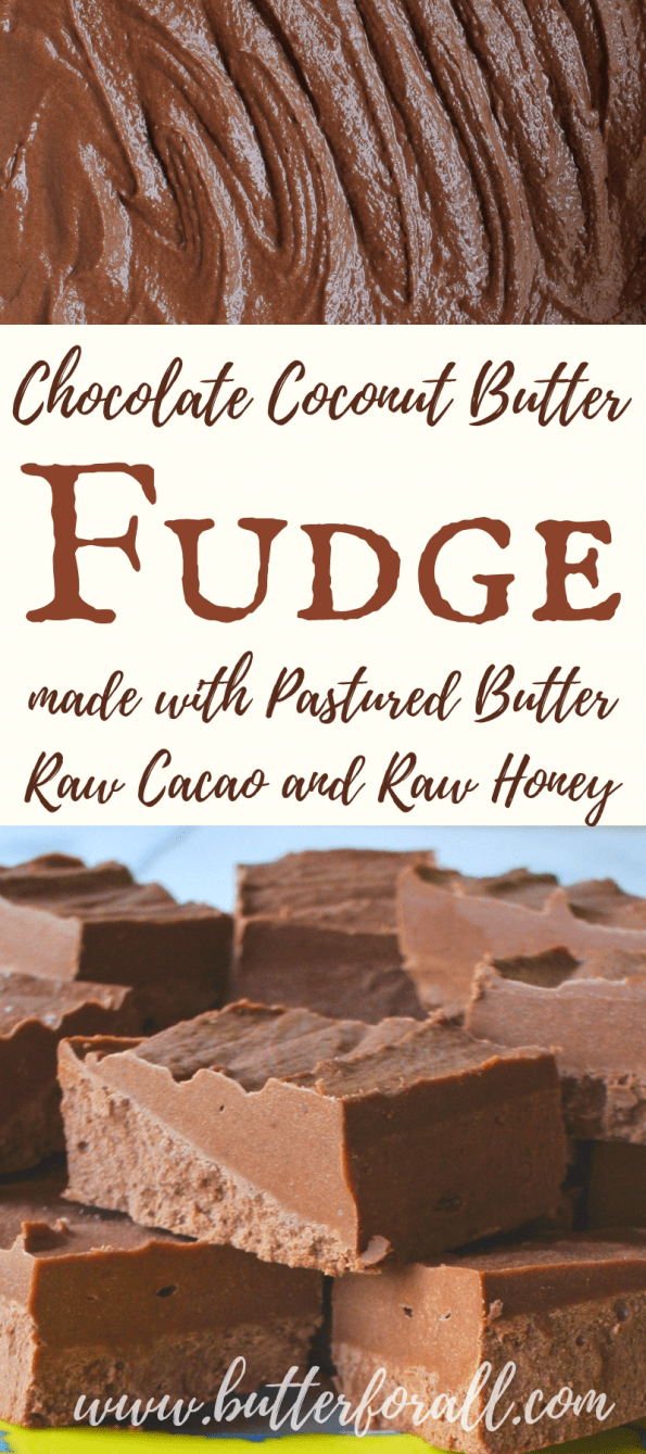 This healthy coconut butter fudge is made with raw coconut butter, pastured butter. raw cacao and raw honey for a real food treat that you can feel good about serving! #realfood #coconut #butter #raw #unrefined  #healthyfats
