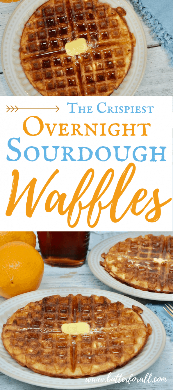 A collage of sourdough waffles with text overlay.