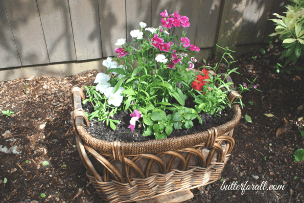 DIY Upcycled Flower Basket Planters