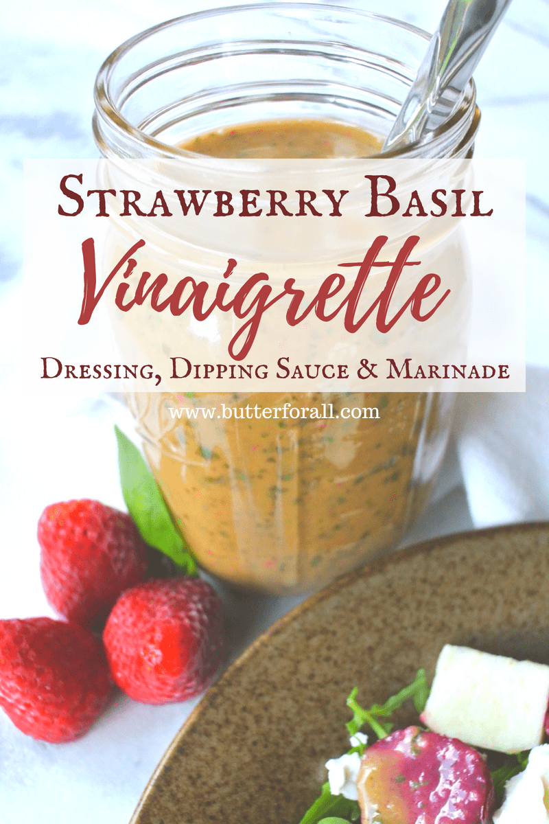 Strawberries and Basil unite to create a delicious dressing that can also be used as a dipping sauce or marinade.