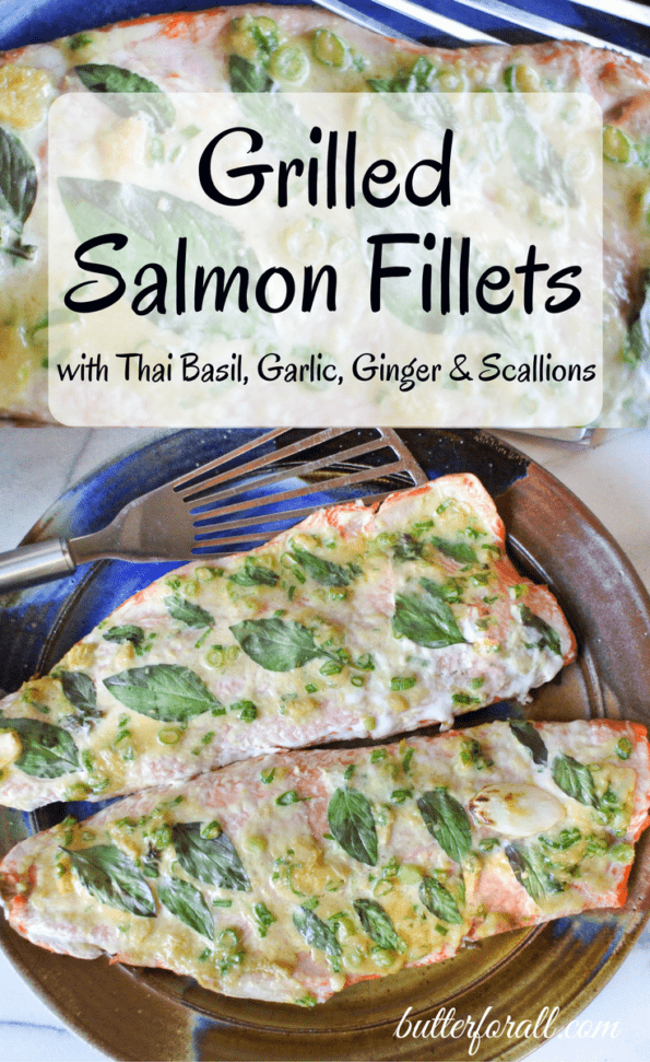 Baked salmon fillets on a plate with text overlay.