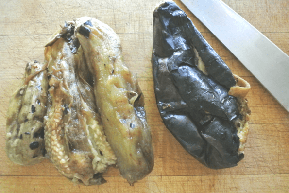 Eggplants after charring the skin.