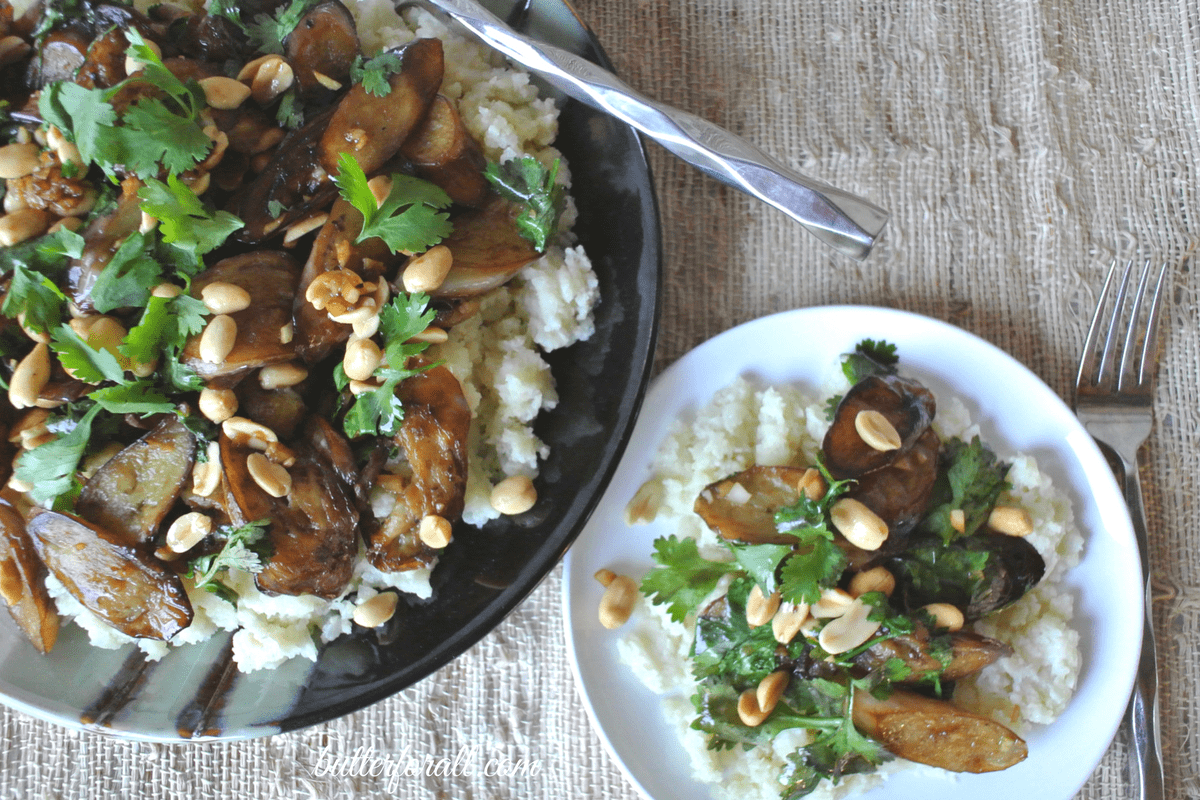 Japanese Eggplant Stir Fry With Cilantro, Roasted Peanuts And Cauliflower Rice