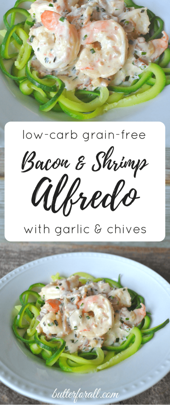 Creamy Bacon And Shrimp Alfredo With Zucchini Noodles
