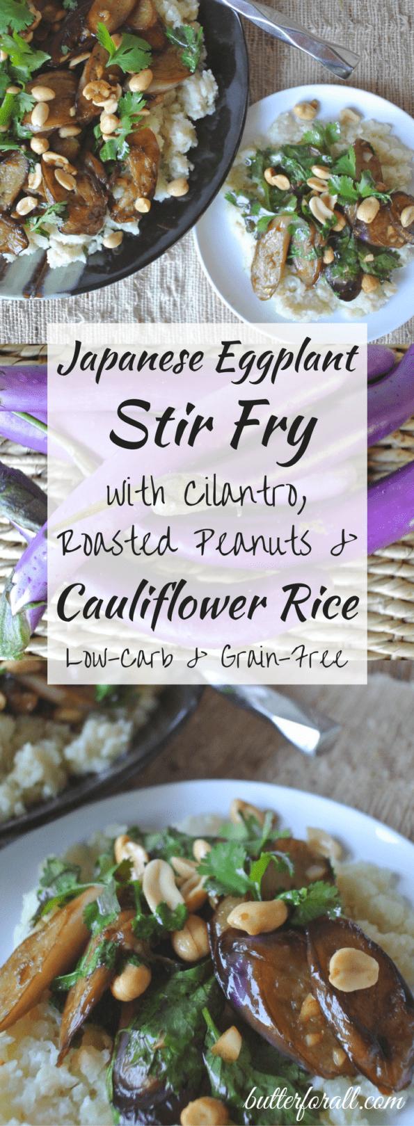 Japanese Eggplant Stir Fry With Cilantro, Roasted Peanuts And Cauliflower Rice
