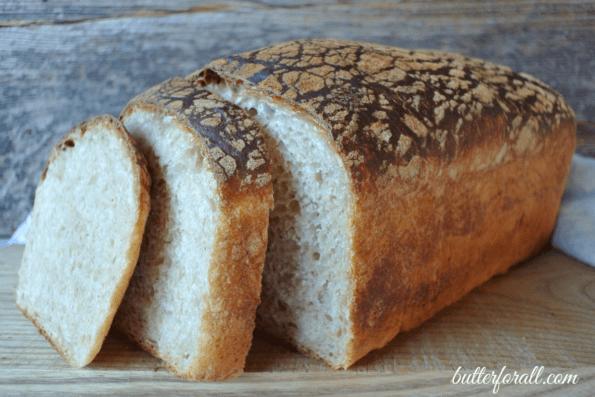 A loaf of sliced butter top sourdough.