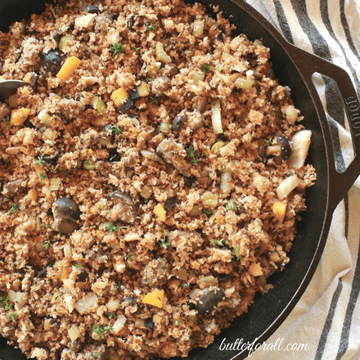 Sourdough Stuffing With Mixed Mushrooms, Spicy Sausage And Thyme