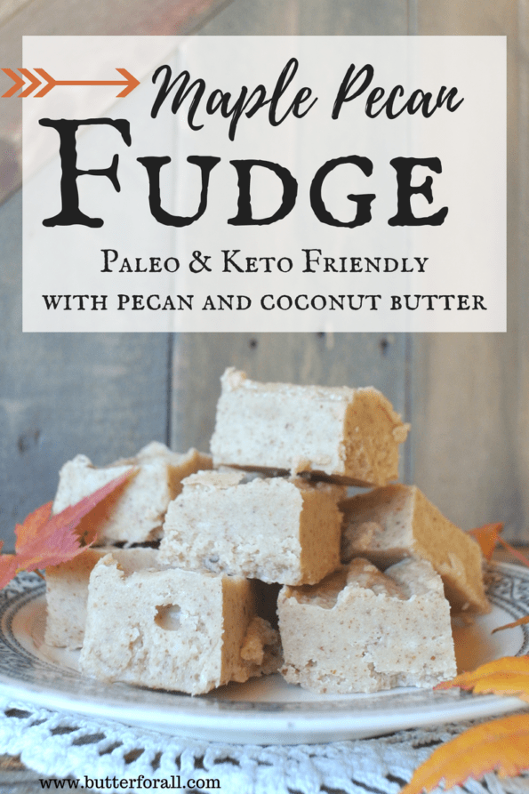 A plate of maple pecan fudge with text overlay.