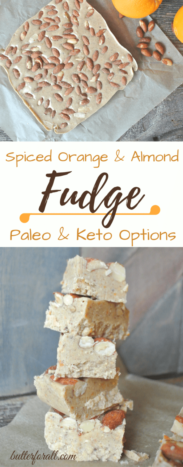 A collage of spiced orange and almond fudge with text overlay.