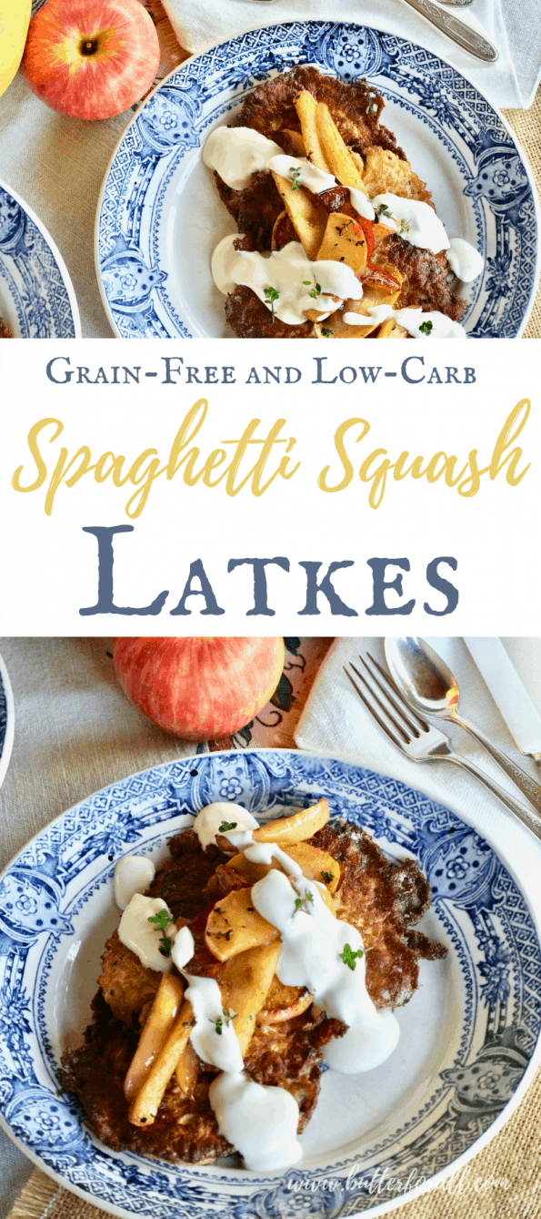 Collage of spaghetti squash latkes with text overlay for Pinterest.