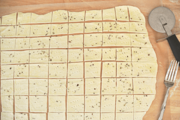 Making Rustic Sourdough Butter Crackers - Cutting And Docking