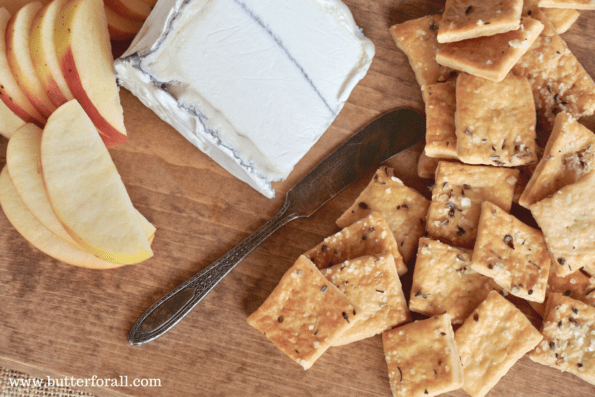 Making Rustic Sourdough Butter Crackers - Serving With Cheese And Apple