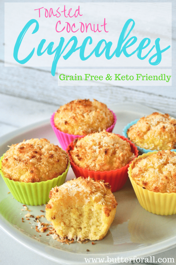 Grain-Free Toasted Coconut Cupcakes - With Keto Friendly Option