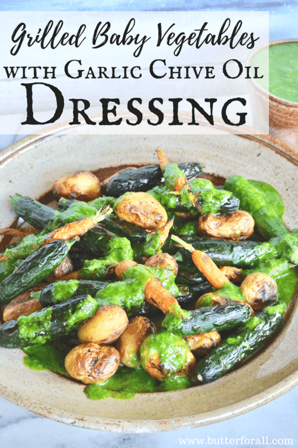 These Grilled Baby Vegetables With Garlic Chive Oil Dressing make the perfect BBQ side dish!